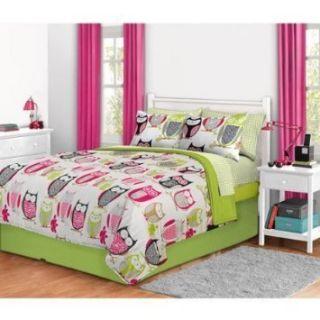 Green Pink Girls Owl Queen Comforter Skirt Sheets Set 8PC Bed in A Bag