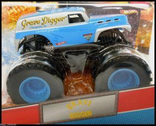 Hot Wheels Monster Truck LIGHT BLUE GREY GRAVE DIGGER Topps Trading