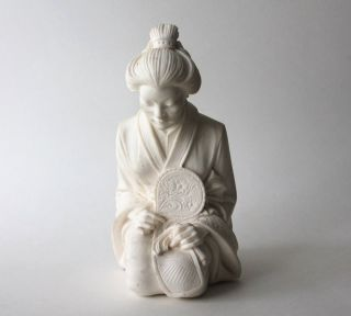 Vintage A GIANNELLI Chinese Japanese Woman Lady Fan Statue Figurine