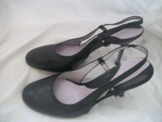 Sz 9 Gianni Bini Solid Black Leather Slingback High Heel Pump Classic