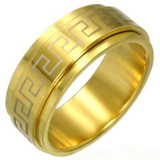 Stainless Steel Greek Key Spinner Ring Gold Plated