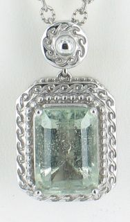 Vintage Sterling Filigree Green Amethyst 4 5 Ct Emerald Cut Pendant