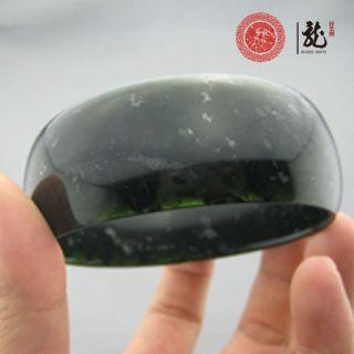 Genuine Flat Dark Green Jade Bangle Bracelet 64mm 2 56
