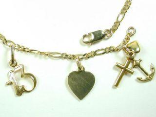 14k Solid Yellow Gold Charm Bracelet w Love Hope Charity Coke Bottle