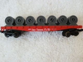AHM N Scale Model Train Flat Cars with Cable Reels Great Northern