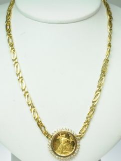 18K Yellow Gold Coin Necklace 1988 Proof Quarter Eagle 189028