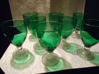 Forest Green Crystal Boopie Water Glass Anchor Hocking Christmas