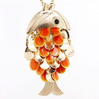 Gold Tone Orange Goldfish Gold Fish Pendant Necklace 356 2