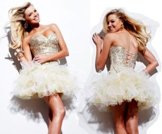 Shimmering Gold Sherri Hill 2424 Homecoming Prom Dress Sequined Corset