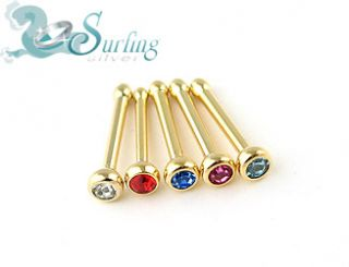 Lot of 5 18K Gold Plated Nose Rings Stud Bone 18g