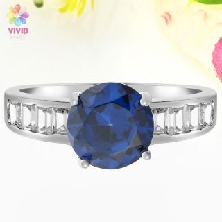 8mm Blue Sapphire Gold Plated Cocktail Fashion Jewelry Ring 6