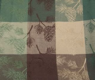 Country Green Brown Tan Pinecone Pine Ridge Table Cloth 60x84