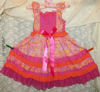 GiGi Boutique Smocked Floral Mix Print RUFFLE Layer DRESS Holiday Girl