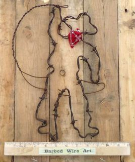 Roping Cowboy Southwest Rodeo Horse Folk Wall Sculpture by Barbed Wire