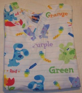 Scrub Top Shirt Medium Nick JR Blues Clues Colors Crayons Scrubs