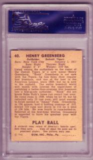 Hank Greenberg Dec 1986 Signed 1940 Play Ball PSA 8 PSA DNA