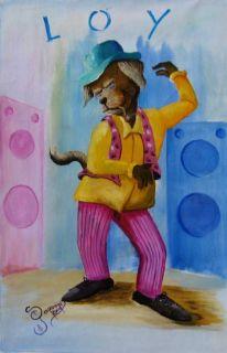 Jamaican Art Funky Dog D Gordon Original Painting