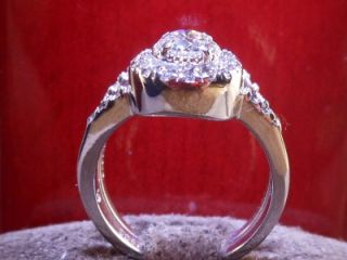 Gordon Certified Round Halo Diamond Vintage Style Engagement Ring