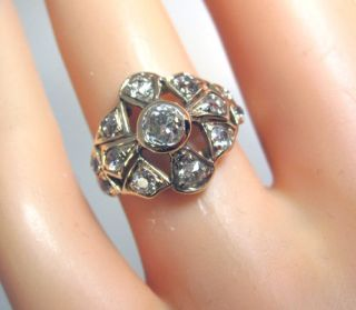 Unusual Vintage Antique 1880s 1 25ct Diamond 14k Yellow Rose Gold