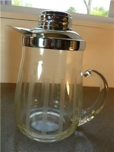 Vintage Gilley Chillit Etched Glass Chrome Pitcher 6CUP