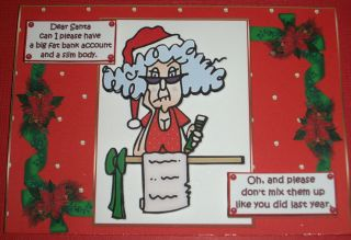 Handmade Greeting Card 3D Christmas Humorous Dear Santa With An Old
