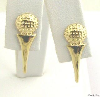 Golf Ball & Tee Earrings   Solid 14k Yellow Gold Pierced Sports Themed