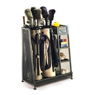 Golf Bag Holder Equipment Storage Shoe Rack Shelf w/ Foam Garage Set