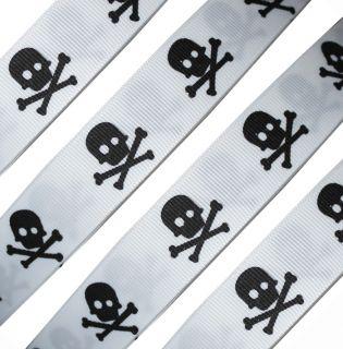 Black Skull Tibia Pirate Happy Halloween White Grosgrain Ribbon