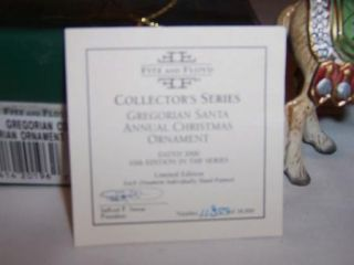 Fitz Floyd Gregorian Annual Christmas Ornament 2000