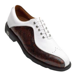 2011 Mens FootJoy Icon Golf Shoes White Brown 52292