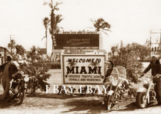1950s Photo Harley Davidson HD Indian Motorcycle Riders Bikers Miami