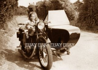 Girl on A Vintage Harley Indian Motorcycle Woman Women Lady Photo