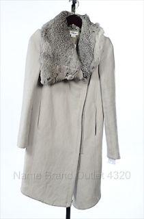 Helmut Lang Gray P Wool Mantle Felt Rabbit Fur Leather Coat Jacket
