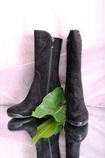 Giovanni Fabiani 5982 Black Suede Mid Calf Boots 38 5