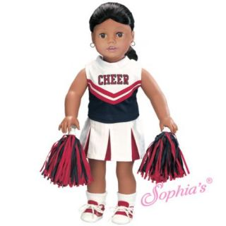Red Blue White Cheerleader Outfit w Socks Shoes Fits American Girl 18