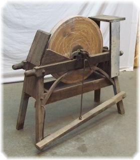 Treadle Grindstone 1800s Working Foot Pedal Grinder Grinding Wheel