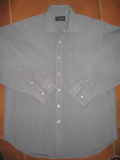 Gitman Bros Mens Gray Plaids Button Front Shirt Sz 16 34
