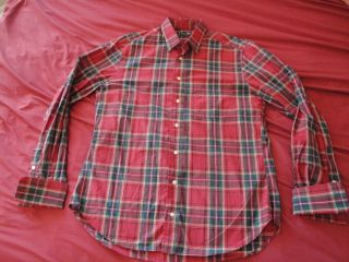 Gitman Bros Vintage red plaid striped button up l s shirt 16 french