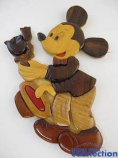 Disney Mickey Mouse Flowers Gordon King Wood Mosaic Wall Sculpture Art