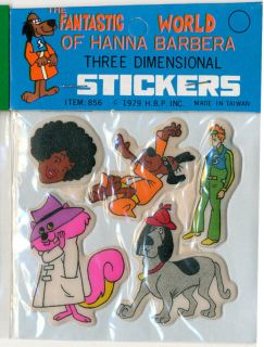 Hanna Barbera Puffy Stickers 1979 Secret Squirrel Hong Kong Phooey