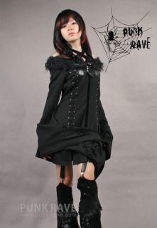 Punk Rave Gothic Kimono Style Jacket Punk Gothic Black