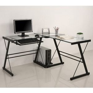 Piece Glass Computer Desk Study Student Work Office Home Room Table