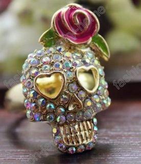 Multicolour Crystal Rose Flower Skull Rings Punk Style