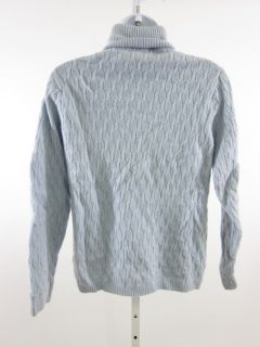 Glen Lyon Blue Cashmere Cableknit Turtleneck Sweater L