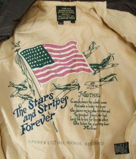 Vtg Avirex Stars Stripes Type A 2 Leather Bomber Jacket Mens Large New