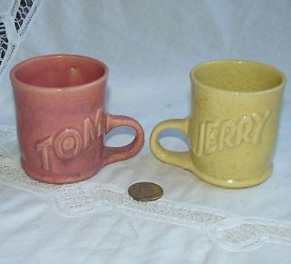 Vintage Tom & Jerry CUP/MUG Set of 2, Garden City Pottery? Yellow Pink