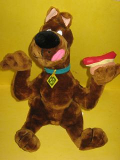 Scooby Doo Stuffed Toy Cartoon Network w Tag Sitting Eating Hot Dog