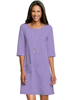 Hanes Signature Womens Ultimate Stretch Cotton Boatneck Dress Style