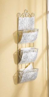 White Metal Hanging Wall Letter File Folder Magazine Rack Holder