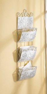 White Metal Hanging Wall Letter File Folder Magazine Rack Holder